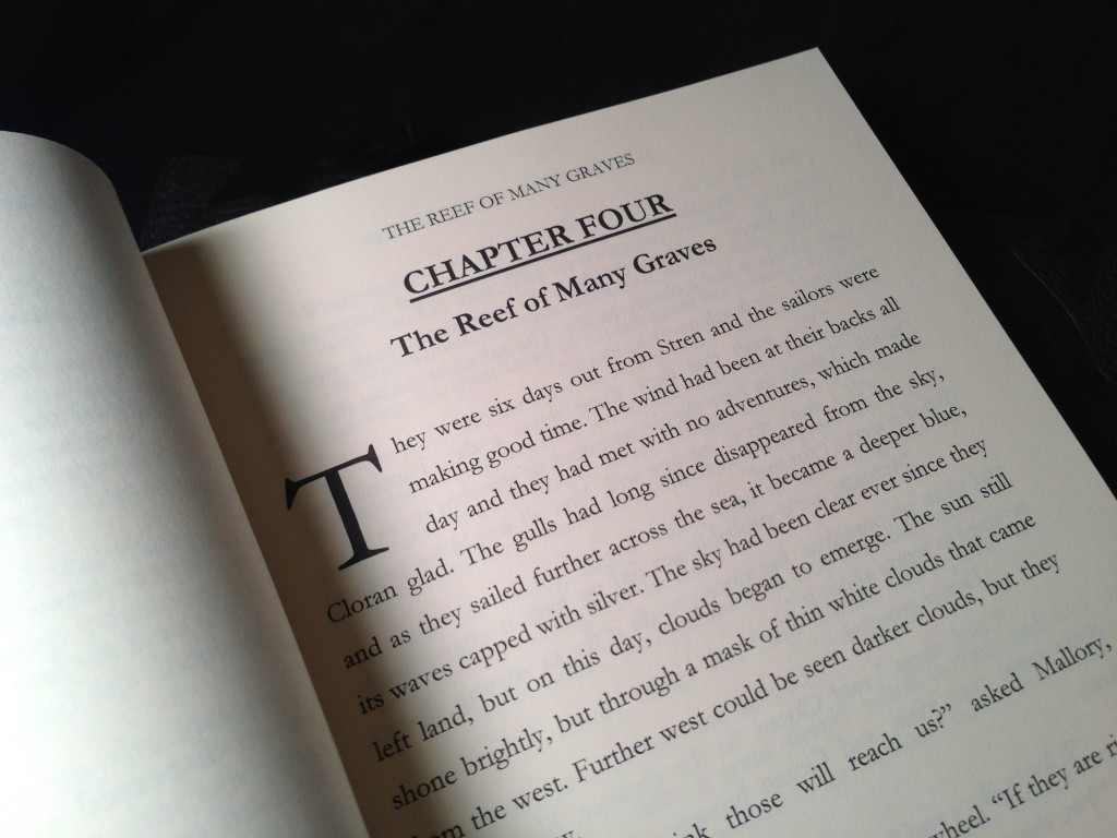 The inside of the book. Notice the drop-case and large, bold, chapter headings.